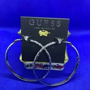 Guess Silver- Tone Diamond Cut Hoop Earrings